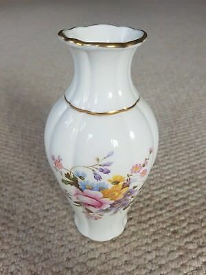 "Royal Crown Derby Bone China Derby Posies Vase - White & Gold, Floral, 7"" Tall"