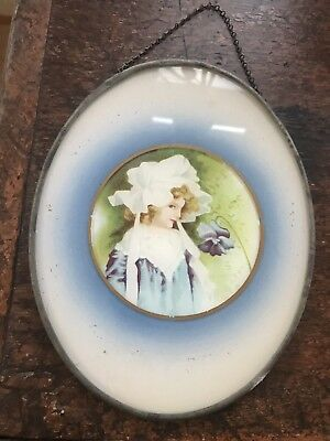 "Antique Victorian Flue Cover ""the Flower Girl"""