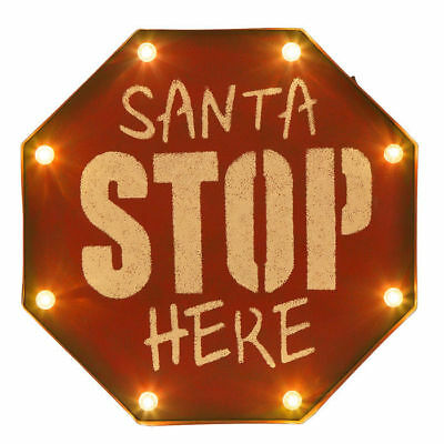 Glitzhome Marquee LED Lighted up Santa Stop Sign Christmas Ornaments Wall Decor