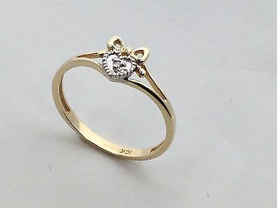 Natural Diamond Heart Ring Solid 10kt Yellow Gold