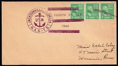 Usa Stamp – Usn Jacksonville Florida N.a.s. - T. S. Fourth Of July 1944 Cover