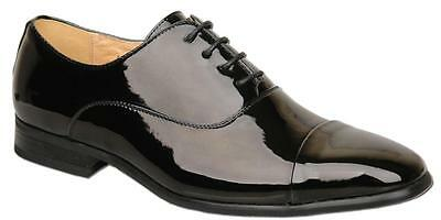 Mens Black Patent Lace Up Formal Leather Lined Capped Wedding Shoes UK Size 11