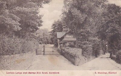 Postcard Leahoe Lodge and Horns Hill Road Hertford by Munnings PU 1907