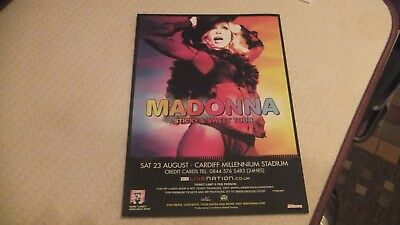 Rare ,madonna ,sticky & Sweet Tour 2008 Flyer Cardiff