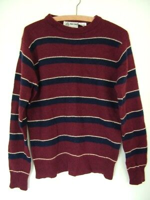 Vintage 80s McCaul burgundy striped mod slouch lambswool jumper sweater, M