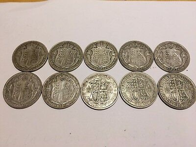 Job Lot *TEN* 10 Half Crowns - 1920-1931. 135g of 50% Silver, or 2.17 toz SILVER