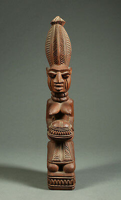 FAKEYE Yoruba African Figure, Mother and Child, Signed J.A.FAKEYE