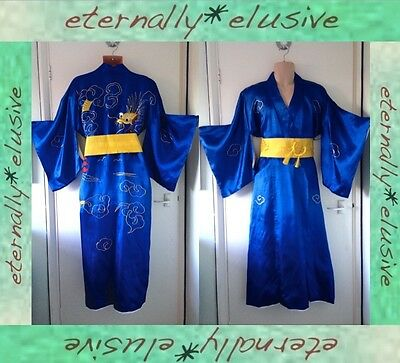 """Vintage Traditional Japanese Blue Kimono Robe Gown Gold Embroidery Obi Mens L52"""""""