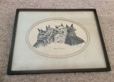 """Original 1900s Signed Ink Painting,Scottish Dogs """"Les Cheins"""" French,Art Deco,"""