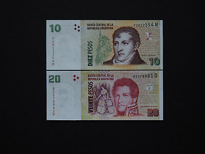 ARGENTINA BANKNOTES CLASSIC MILITARY ISSUE - Set of 10 and 20 Pesos in  Mint UNC
