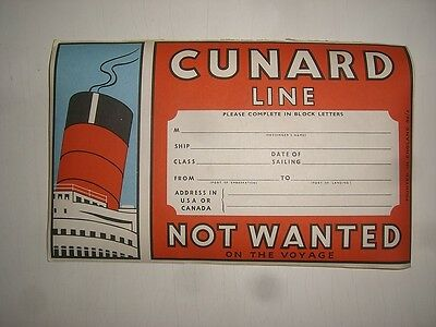 a/ old Ship Compay CUNARD LINE Schiff Kofferaufkleber baggage label sticker