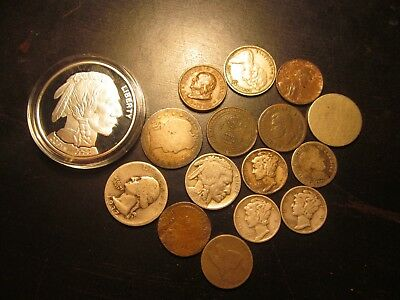 Lot Of 16 Old Us Coins,cents,nickle,dimes,quarters,tokens,canadians,some Silver!
