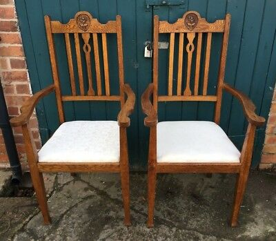 Pair of Antique Arts & and Crafts Golden Oak Carved Armchairs ( Elbow Chairs)