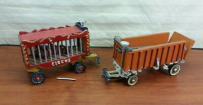 Vintage Painted Wooden Circus Cart Wagon Figures Horse Drawn