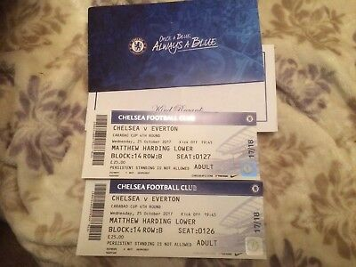 Chelsea V Everton Carabao Cup 4th Round 25/10/17 Pair Of Tickets.this Wednesday!