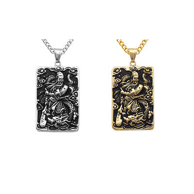 Stainless Steel Amulet Guan YU Chinese Ancient Hero Pendant Charms Gift