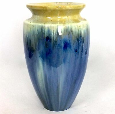 "FULPER 10 1/8"" BLUE & YELLOW CRYSTALLINE DRIP VASE Race Track Fulper Mrk c1920s"