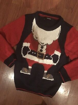 Boys Blue Red Christmas Santa Jumper Age 3-4Yrs Great Condition