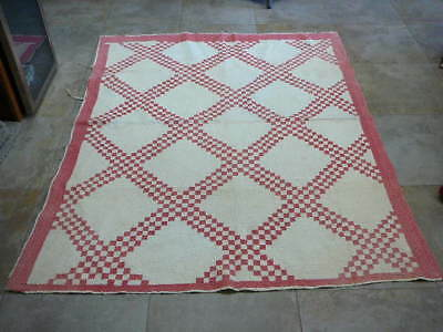 """Vintage Red And White Handstiched Quilt 74"""" X 60"""""""