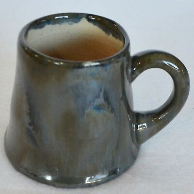 Antique Fulper Pottery Ink Mark Coffee Mug Cup Drip Glaze Blue Green Mirror USA