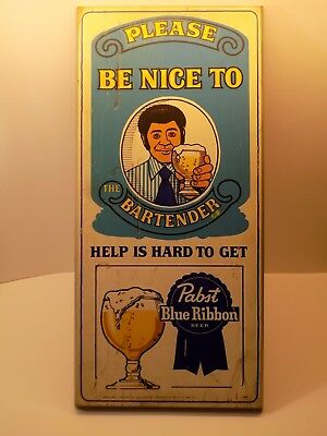 Vintage Pabst Blue Ribbon RARE Black African Am. 'Be Nice To the Bartender' Sign