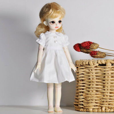 1/6 BJD Summer Clothes White One-piece Puff Sleeve Dress for SD DOD AOD Doll