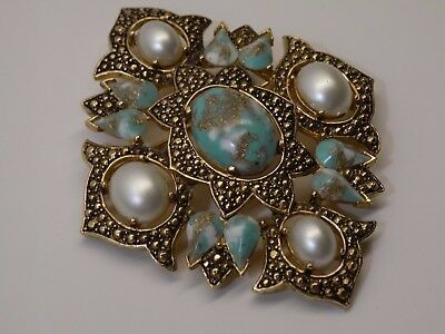 Vintage Ornate Faux Pearl & Turquoise Easter Egg Cab Statement Brooch Sarah Cov.