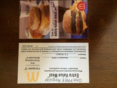 10 MCDONALDS EXTRA VALUE MEAL  Certificate 2018
