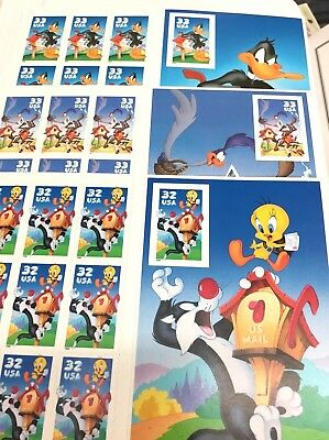 Collection 3 Looney Tunes Imperforate Stamp MNH Sheets Daffy, Sylvester + Wile E