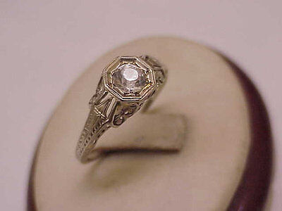 18K White Gold Antique Victorian Old Cut Paste Stone Ring from 1800s