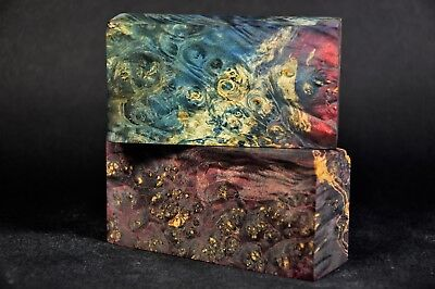Stabilized Wood Blocks Lot of 2 Knife Scales/Handles Woodturning Blanks