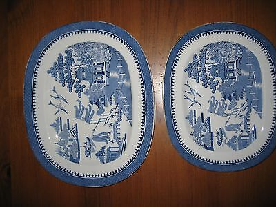 2 Antique Minton Blue & White Serving Platters Willow For Waring & Gillow C1914