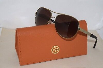 7a1f8042f90 New Authentic Tory Burch Sunglasses TY6047 Gold Metal Frame   Brown Lens