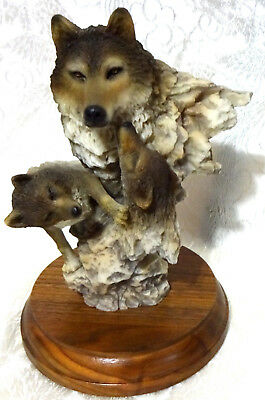 Peaceful Play Wolf Sculpture Figurine by Mill Creek Studios