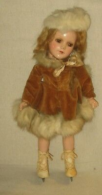"1940's R & B Composition Sonja Henie Doll - org. outfit- 13 1/2""- as found."