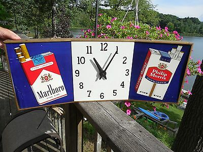 ORIGINAL 1950's MARLBORO & PHILIP MORRIS CIGARETTE ADVERTISING CLOCK SIGN RUNS
