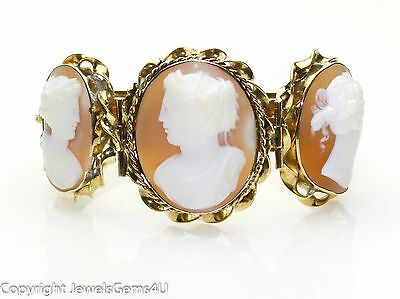"RARE Antique KREMENTZ 14K Yellow Gold 3 Shell Cameo Bangle Bracelet 7"" HEAVY!"