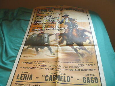 Vintage 1985 Rejoneo Bullfighting Poster Barcelona Spain Monumental Plaza Toros