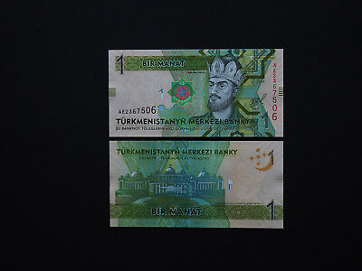 Turkmenistan's  Brilliant 1 Manat Colourful Notes   * Mint Unc *     2012 - 2014