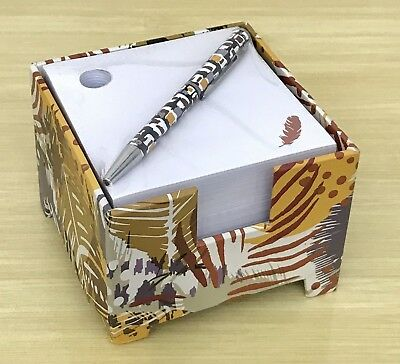 Vera Bradley Note Cube and Mini Pen in Painted Feathers