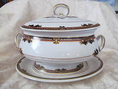 "Vintage Davenport Ironstone ""imari"" Large Soup Tureen With Lid/underplate - Vgc"