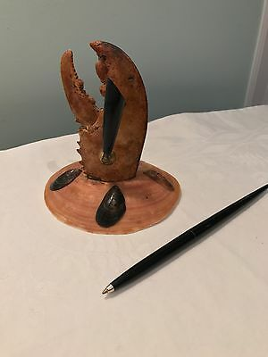 Real Lobster Claw Pen Holder Kitschy Desk  Seashell Souvenir Retro Office MCM