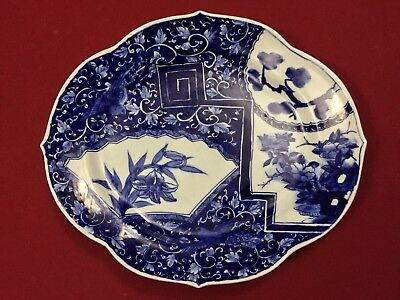 Scarce decorative antique Japanese Imari porcelain Blue and White Celadon plate