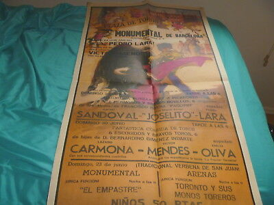 1985 Bullfighting Poster Barcelona Spain Momumental Plaza De Toros Fan Mantilla