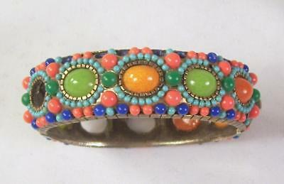 Vintage Hobe Beaded Bangle Bracelet Coral Orange Blue Green Repair Rare