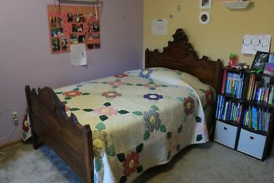 Antique Wood Victorian Three-Quarter Size Bed with Custom Mattress