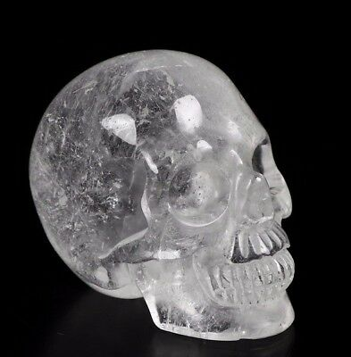 "1.9"" QUARTZ ROCK CRYSTAL Carved Crystal Skull, Realistic, Crystal Healing"