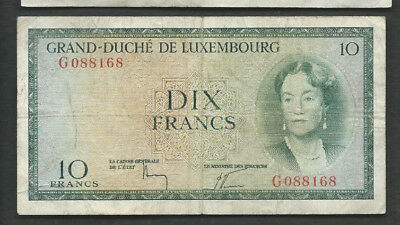Luxembourg 1954 10 Francs P 48 Circulated