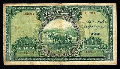 TURKEY 1 TURKISH LIRA LIVRE 1926  P#119  ** SERIE 6 ** very rare