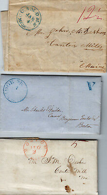 Quack Medical Postal History Lot Stampless Covers Cambridge Camden Maine 1840's